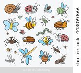 set funny insects. isolated on... | Shutterstock .eps vector #443099866