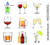 alcoholic icons detailed photo... | Shutterstock .eps vector #443100652