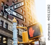 new york city road sign one way ... | Shutterstock . vector #443112382