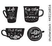 hand drawn coffee quotes on ... | Shutterstock .eps vector #443116816
