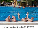 children's feet in a spray of... | Shutterstock . vector #443117578