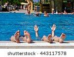 children's feet in a spray of... | Shutterstock . vector #443117578