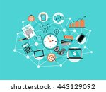 modern flat thin line design... | Shutterstock .eps vector #443129092