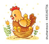 cute cartoon hen with chickens... | Shutterstock .eps vector #443140756