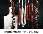cured meat and sausages hang... | Shutterstock . vector #443143582