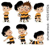 cartoon soccer kid with... | Shutterstock .eps vector #443145526