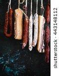 sticks of smoked salami ... | Shutterstock . vector #443148112