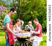 man grilling meat on garden... | Shutterstock . vector #443156815