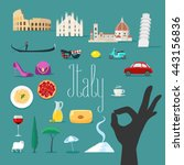travel to italy vector icons... | Shutterstock .eps vector #443156836