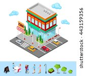 isometric city restaurant. fast ... | Shutterstock .eps vector #443159356