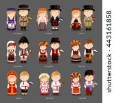 people in national dress.... | Shutterstock .eps vector #443161858