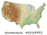 Relief map of United States - 3D-Illustration