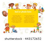 happy children holding blank... | Shutterstock .eps vector #443172652
