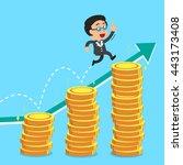 businessman jumping over money... | Shutterstock .eps vector #443173408