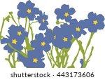 blue flowers. flax flowers | Shutterstock .eps vector #443173606