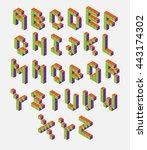 isometric pixel font. 3d... | Shutterstock .eps vector #443174302