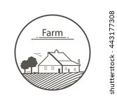 farm logo. template with farm... | Shutterstock .eps vector #443177308