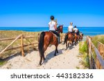 Stock photo young women riding horses to sandy beach in lubiatowo coastal village baltic sea poland 443182336