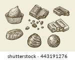 chocolates. hand drawn sketch... | Shutterstock .eps vector #443191276