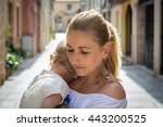adorable  affection  baby sad... | Shutterstock . vector #443200525