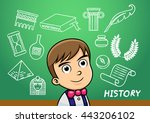 school boy write history sign... | Shutterstock .eps vector #443206102