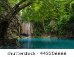 waterfall in deep forest  ... | Shutterstock . vector #443206666