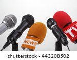 microphones at press conference | Shutterstock . vector #443208502