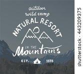 mountains hand drawn sketch... | Shutterstock . vector #443209375