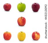 Small photo of Varieties of apples collection (New Zealand Eve, Granny Smith, Red Del, Ambrosia, Divine, Lemonade, Fuji, Gala) isolate on white background with clipping path, Side View