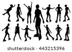 silhouettes of roller girl | Shutterstock .eps vector #443215396