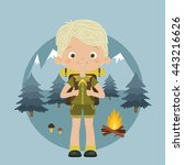 happy boy scout with backpack... | Shutterstock .eps vector #443216626