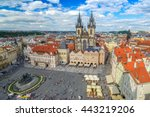 prague old town square  prague  ... | Shutterstock . vector #443219206