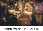 policeman is reviewing files...   Shutterstock . vector #443221546