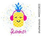 vector bright summer greeting... | Shutterstock .eps vector #443221822