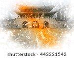watercolor processing orange... | Shutterstock . vector #443231542