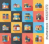 building and store icons set | Shutterstock .eps vector #443237272