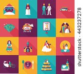 wedding and marriage icons set | Shutterstock .eps vector #443237278