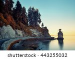 Stock photo siwash rock in stanley park at sunrise in vancouver 443255032