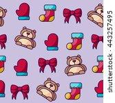 gloves  socks  bow  and bear...   Shutterstock .eps vector #443257495