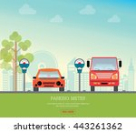 car park with parking meter on... | Shutterstock .eps vector #443261362