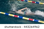 boy goes in for sports in the... | Shutterstock . vector #443264962