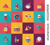 celebration and birthday icons... | Shutterstock .eps vector #443269858