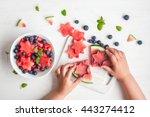 watermelon salad. slices of... | Shutterstock . vector #443274412