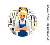 man standing folded hands ...   Shutterstock .eps vector #443279905
