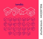 isometric 3d outline font ... | Shutterstock .eps vector #443287306