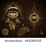 sacred geometry symbol with all ... | Shutterstock .eps vector #443289205