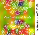 doodle set with vegetables and... | Shutterstock .eps vector #443290378