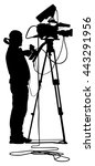 cameraman silhouette with video ... | Shutterstock .eps vector #443291956