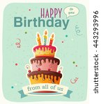 birthday card with cake. eps10 | Shutterstock .eps vector #443293996
