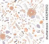 seamless hand drawn flower... | Shutterstock . vector #443295052